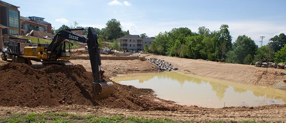 growth campus center pond